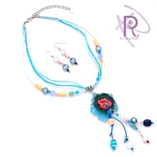 【R.J New York】吉普賽花園耳環項鍊套組(柔情藍)