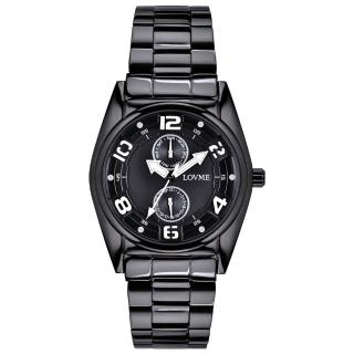 【LOVME】彩色三角指針時尚潮流腕錶-黑x白(VS0777M-33-321)