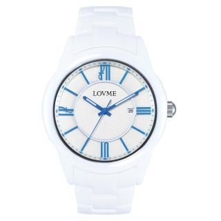 【LOVME】羅馬戀人陶瓷時尚腕錶-白x藍刻度(VC0291M-22-2B1)