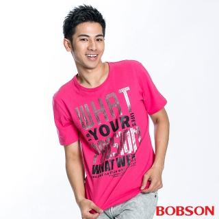【BOBSON】男款字母印圖短袖上衣(桃紅21018-15)