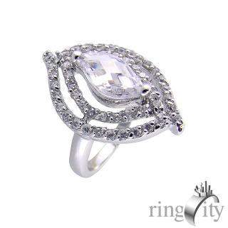 【RingCity】菱形鋯石雙環繞鑽戒(白鑽色系列)