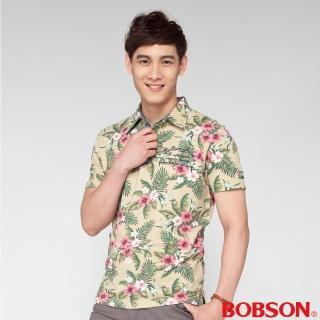 【BOBSON】男款合身版印花POLO短袖上衣(黃綠24015-40)