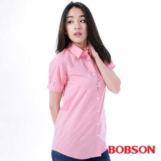 【BOBSON】女款素面長版短袖襯衫 粉24131-13