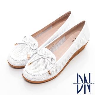【DN】通勤首選 減壓全真皮蝴蝶結楔型包鞋(白)