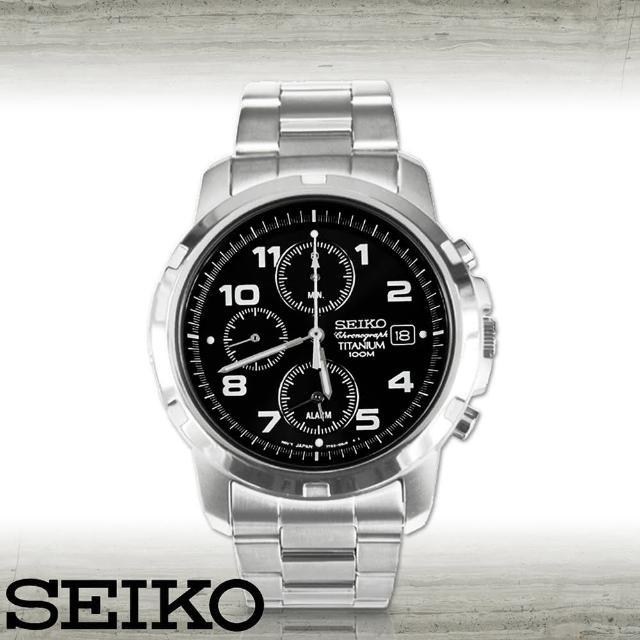 超值推薦-【SEIKO 精工】超輕鈦合金三眼賽車腕錶(SNA113P1)