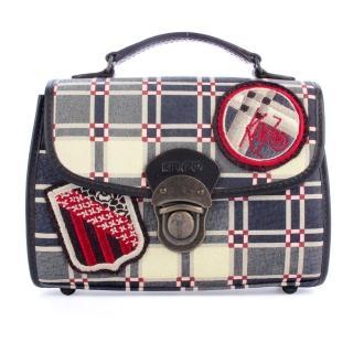 【KENZO】復古風拼布格紋織繡滑扣可提式零錢小包(藍灰色)