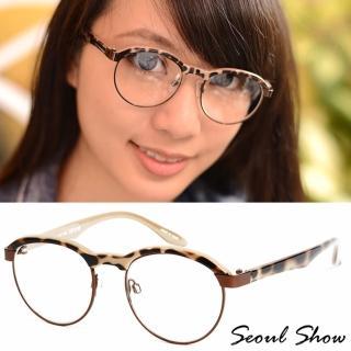 【Seoul Show】復古小眉框 平光眼鏡(6762 可可豹紋)