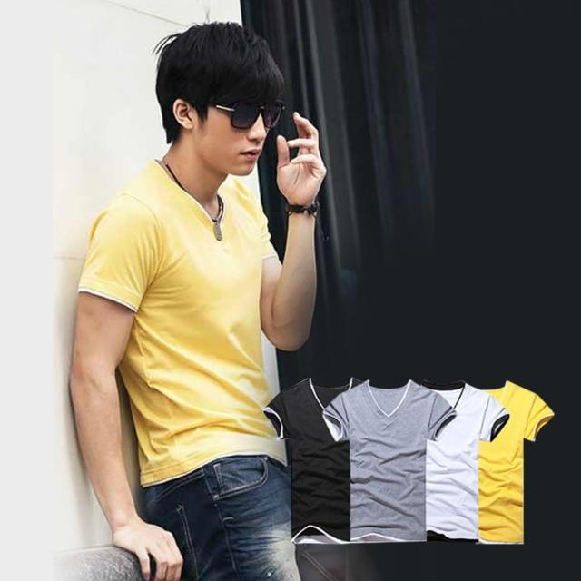 【ENNE】百搭純色假兩件短袖修身男士V領上衣T恤/四色限時特價