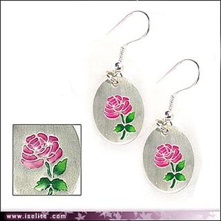 【伊飾炫銀】琺瑯粉玫瑰*純銀幣耳環