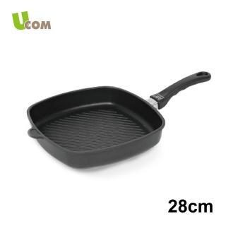 【UCOM德國AMT】黑魔法單柄不沾方形平底鍋含蓋(28CM)