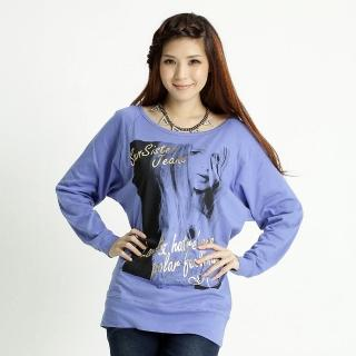 【BOBSON】女款燙金字印圖連袖上衣(藍紫31080-59)