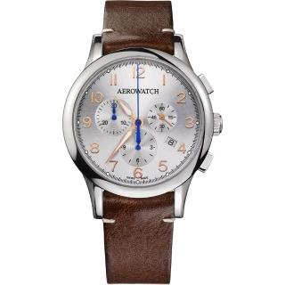 【AEROWATCH】Grace優雅風範三眼計時腕錶-銀x咖啡/ 42mm(A83966AA03)