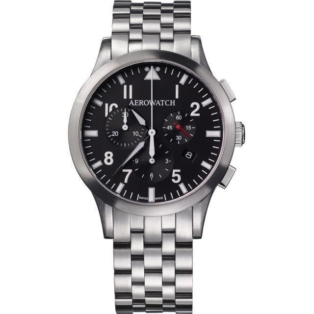 【AEROWATCH】都會仕紳三眼計時腕錶-黑x銀/42mm(A83966AA01M)