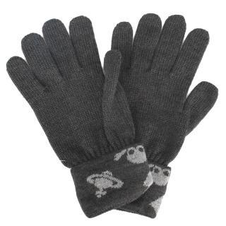【Vivienne Westwood】經典骷髏頭星球圖案混羊毛手套(灰色)