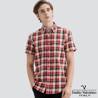 【Emilio Valentino 范倫提諾】水洗格紋襯衫(紅黑)