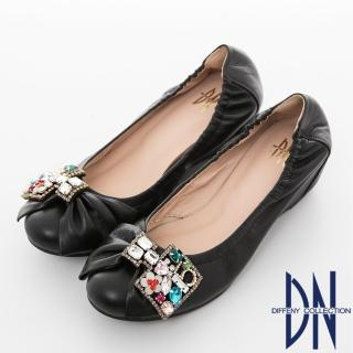 【DN】心機美學 MIT寶石鑽飾羊皮內增高娃娃鞋(黑)