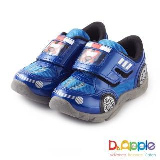 【Dr. Apple 機能童鞋】可愛俏皮人物開車碰碰運動童鞋(藍)
