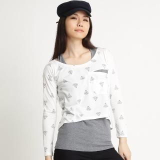 【BOBSON】女款兩件式長袖上衣(米白32077-81)