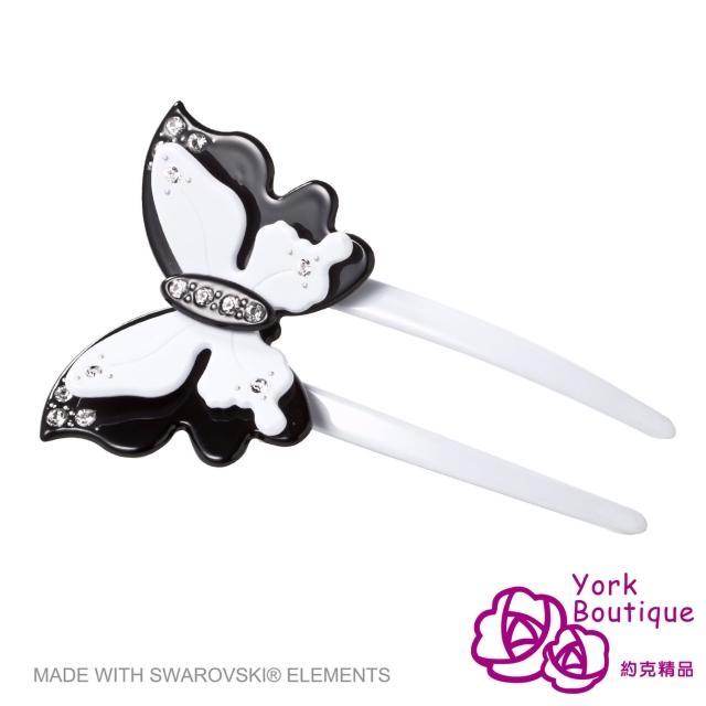 【約克精品】白色花蝶施華洛元素晶鑽(手工髮插 髮飾)物超所值