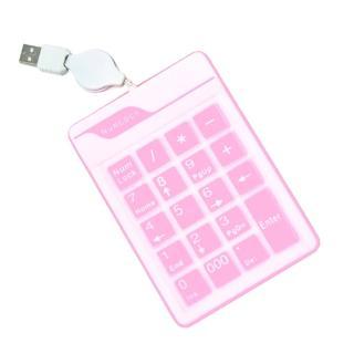 【逸奇e-Kit】超薄防水19鍵果凍數字鍵盤(NK-019-PK 粉紅果凍)