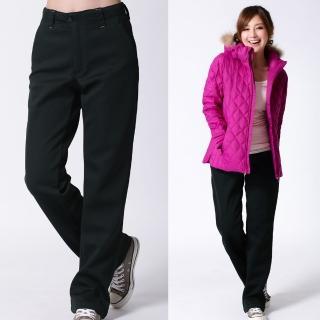【遊遍天下】中性款保暖防風刷毛長褲A071黑(S-2L)