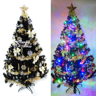 【摩達客】耶誕-7尺/7呎-210cm台灣製時尚豪華版黑色聖誕樹(含金銀色系配件/含100燈LED燈2串/附跳機控制器)