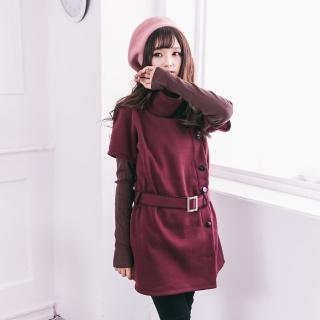 【衣心衣意中大尺碼】日系高領排釦洋裝(黑-紅YA5038)