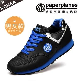 【PAPERPLANES】正韓製/正常版型。男女款輕量透氣撞色慢跑休閒鞋(7-1336藍黑/現貨)