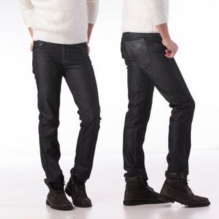 【RH紳士品格】紳士簡約牛仔內刷毛牛仔長褲(深藍內刷毛實腰實碼)