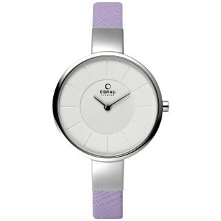 【OBAKU】采麗時刻時尚腕錶-銀框x紫帶(V149LCIRQ)