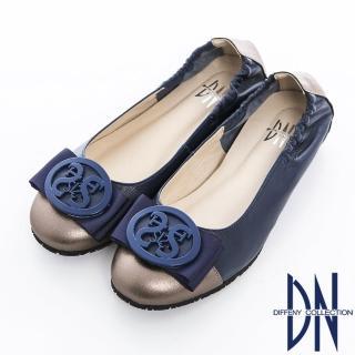 【DN】舒適樂活 鏤空圓飾雙色牛皮拼接娃娃鞋(藍)