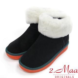 【2.Maa】個性撞色牛麂皮反折暖暖雪靴(百搭黑)