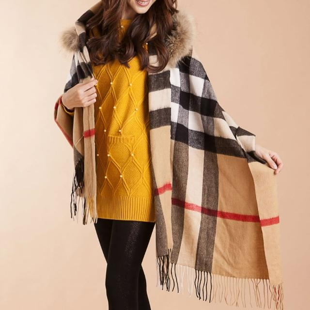 【雪莉亞】日系狐狸毛連帽披肩式圍巾(卡其色/灰色)