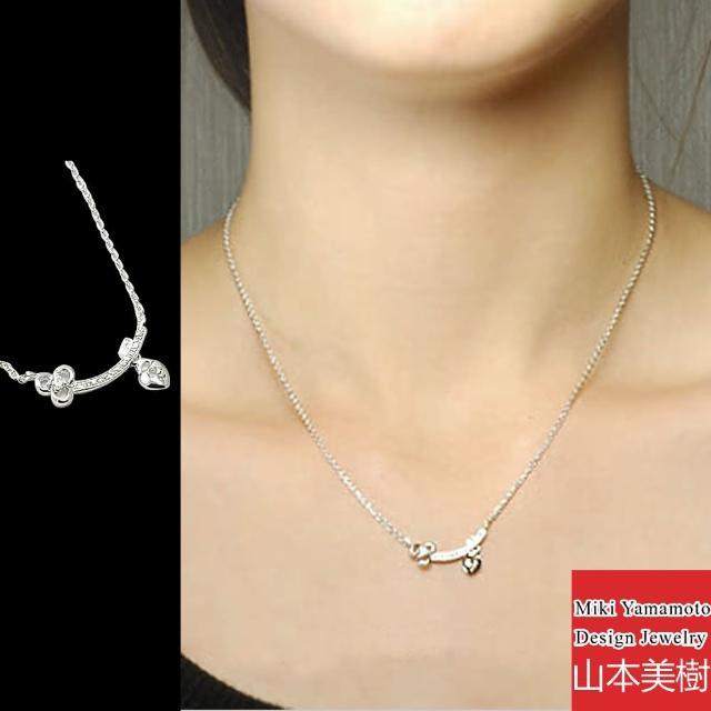 【山本美樹】shine key 微笑小花奧地利水晶項鍊(銀色)
