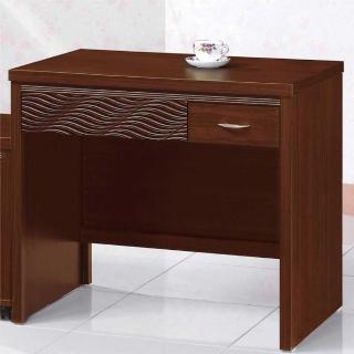 【綠活居】蘇米爾斯3尺胡桃色兩抽書桌(不含活動櫃)