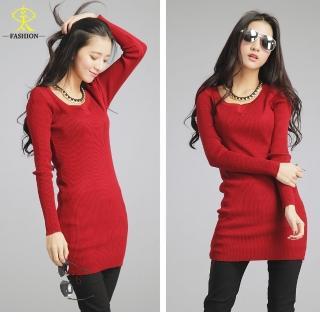 【玄太】長版柔感修身針織衫(紅/灰)