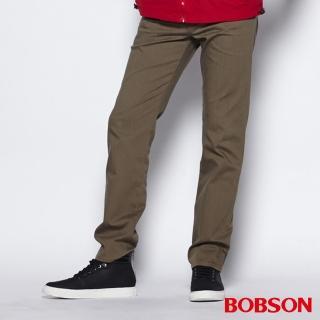 【BOBSON】男款高腰膠原蛋白直筒褲(卡其1804-72)