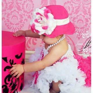 【美國 Fancy That Hat】大花朵抗UV太陽防曬帽/太陽帽_桃紅/白玫瑰(FTH10)