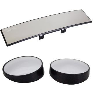 omax廣角鍍鉻曲面後視鏡-1入+廣角輔助凸透大圓鏡LY602P-2入(1組)