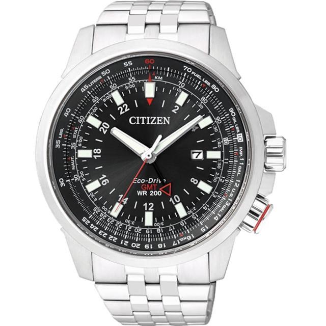 站長推薦-【CITIZEN 星辰】Eco-Drive 浩瀚飛行雙時區光動能腕錶-銀x黑(BJ7071-54E)