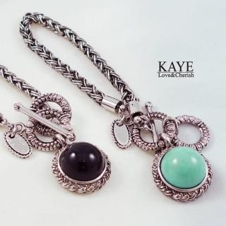 【Kaye歐美流行飾品】圓形寶石復古編織粗鍊手環