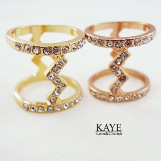 【Kaye歐美流行飾品】閃電造型水鑽I字戒指