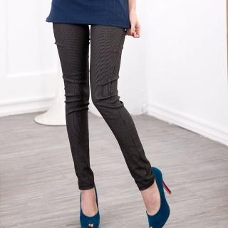 【衣心衣意中大尺碼】經典條紋平織彈性腰圍口袋透氣窄管內搭褲(灰A7009)