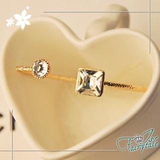 【伊飾童話】幾合水晶*簡約彈性手環/白