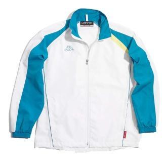 【KAPPA】義大利小朋友吸濕排汗速乾單層風衣(藍-白)