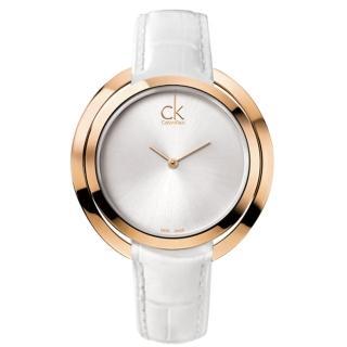 【瑞士 CK手錶 Calvin Klein】甜蜜玫瑰金_造型皮革款女錶(K3U236L6)