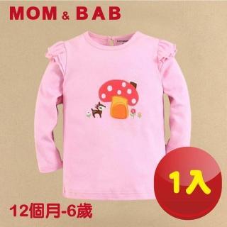 【MOM AND BAB】小鹿蘑菇圓領T恤長袖純棉上衣(12M-6T)