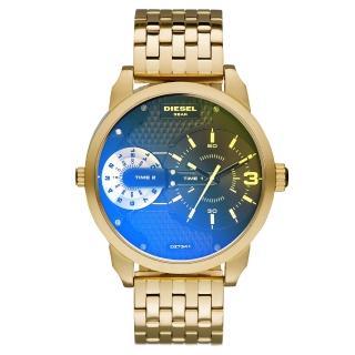 【DIESEL】航行者二地時間個性時尚腕錶-黑面金x鍍膜鏡面(DZ7341)