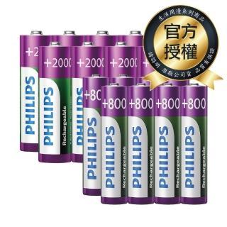 【PHILIPS】低自放充電電池 三號8入+四號8入