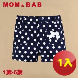 【MOM AND BAB】寶藍點點可愛淑女純棉短褲-單件組(12M-6T)